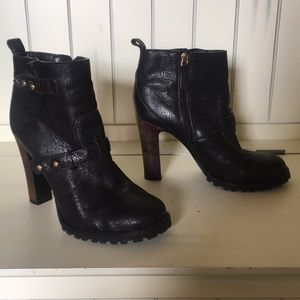 Tory Burch size 9.5 black boots/stacked brown heel